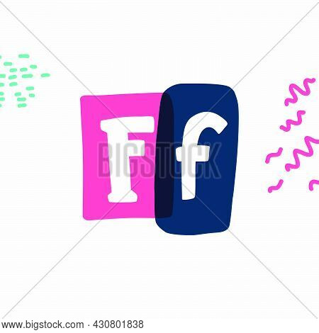 F Letter Typewriter-inspired Logo With Bold Slab Serif Letters In Colorful Frames. Hand-drawn Style