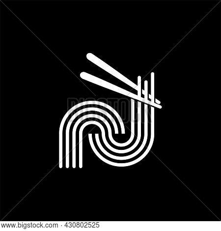 Letter N Noodle Logo Design. Initial Letter N With Noodle And Chopsticks. Simple Line Art Logo Conce