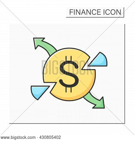 Expenses Color Icon. Dollar Sign Round. Concept Of Production And Marketing Cost Share, Business Pro