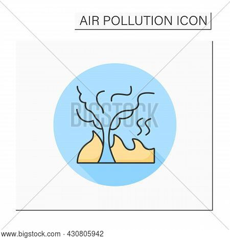 Burning Wood Color Icon. Carbon Monoxide And Combustion Products. Forest Fire Disaster. Smoke Cloud.