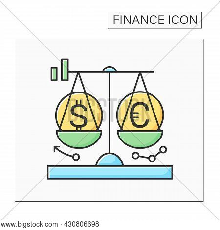Exchange Rate Scale Color Icon. Dollar And Euro Currency Conversion Balance. Concept Of Financial Ma