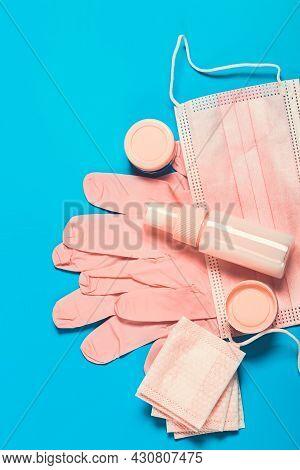 Antivirus Protective Kit For A Womans Bag In Pink. Mask, Medical Gloves, Sanitizer. Safe Travel Kit
