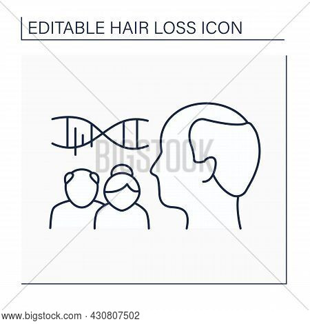 Hair Loss Line Icon. Hereditary Balding. Heritage Disease From Parents. Genes. Man With Bald.alopeci