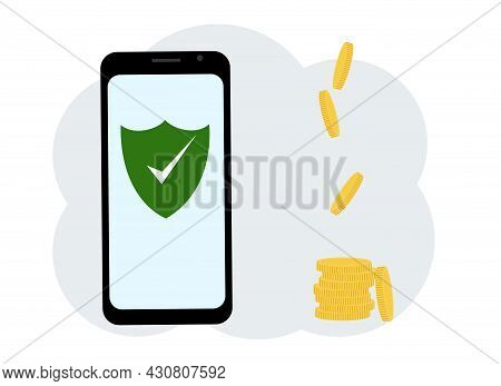 Vector Illustration. Antivirus Software In The Phone. There Are Many Coins Nearby