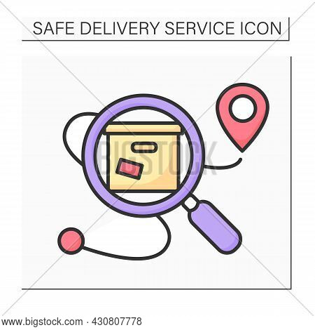 Delivery Tracking Color Icon.parcel Location Under Magnifier. Concept For Safe Expedited Goods, Onli