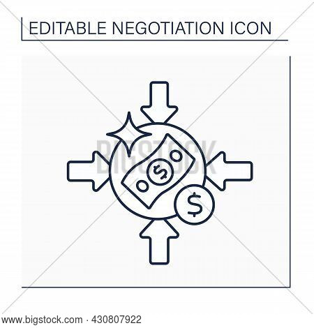 Offer Line Icon. Potential Contracting Set Bottom Lines For Negotiating Possible Deals.negotiation C