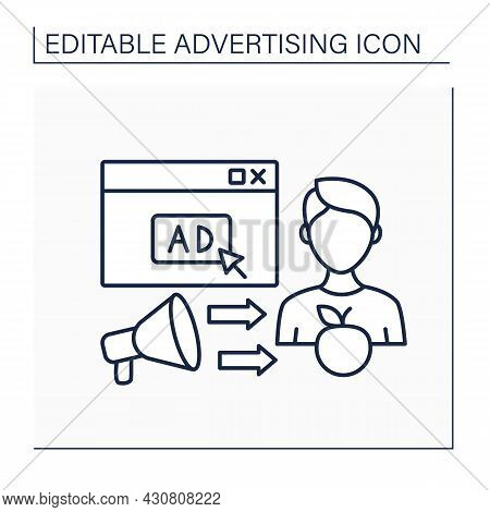 Continuous Ads Line Icon. Marketing Strategy. Continuously Reminded For Customers About Goods And Se