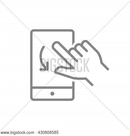 Turning Swipe Gesture Line Icons For Smartphone Application. Mobile Phone With Hand Symbols.