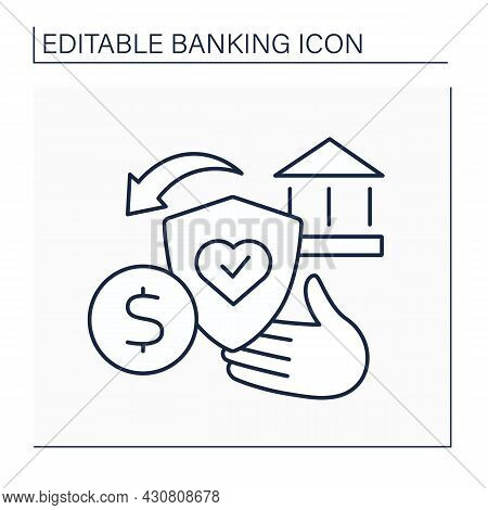 Credit Life Insurance Line Icon. Life Insurance Policy. Pay Off Loan In Case Of An Untimely Death.ba