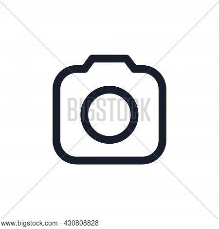 Kyiv, Ukraine - August 1, 2021: Photo Camera Black Line Icon. Popular Instagram Media Element. Photo