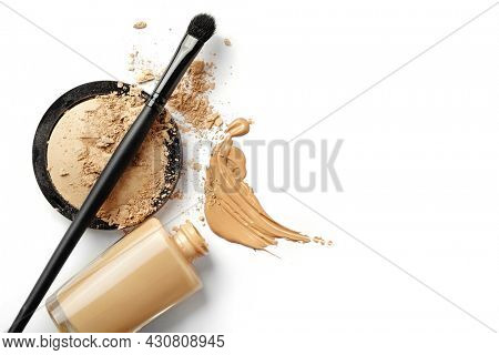 make up bottle, brush, Foundation color sample - make-up for fashion and beauty magazines. professional make up cosmetics