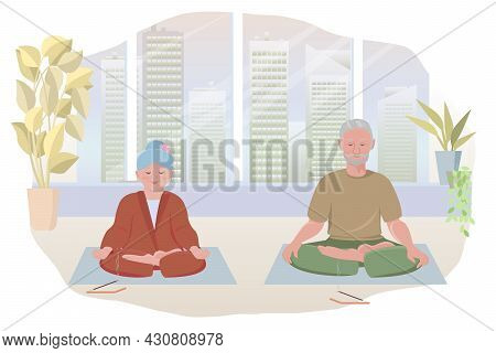 Elderly Adult Couple Does Yoga In Studio Or On Terrace Against Backdrop Of City Skyscrapers. Concept