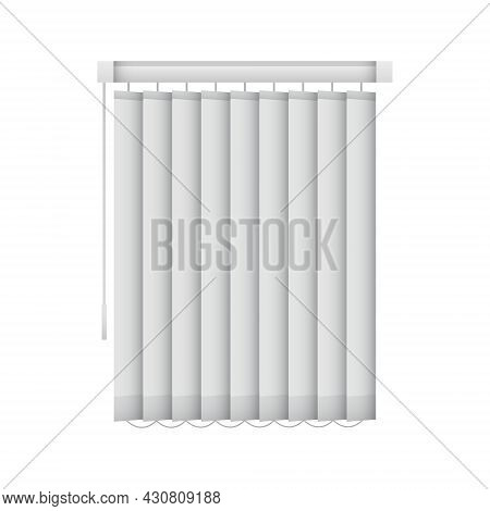 Realistic Closed Window Blinds. Vertical Office Louvers. Vector Window Shutters Mockup For Interior