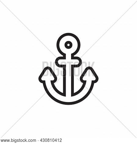 Simple Flat Anchor Icon Illustration Design, Silhouette Of Anchor Symbol With Outlined Style Templat