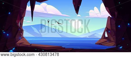 Cave Seaview Landscape, Hole In Rock With Ocean, Mountains And Gulls Flying In Blue Sky. Grotto, Hid