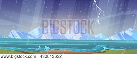 Thunderstorm Landscape With River Shore, Wind, Rain, Mountains On Horizon And Lightning In Sky. Vect