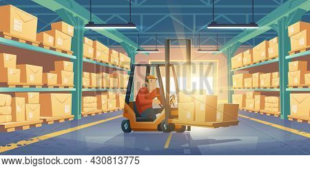 Worker In Forklift In Warehouse With Cardboard Boxes On Shelves. Vector Cartoon Storage Room Interio