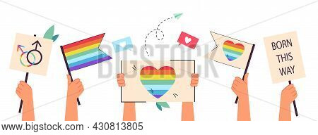 Hands Holding Rainbow Flags And Placards. Support Of Lesbian, Gay, Bi And Transgender Persons, Peopl