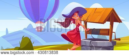 Summer Landscape With Fields, Stone Well, Hot Air Balloon And Beautiful Girl In Hat. Vector Cartoon