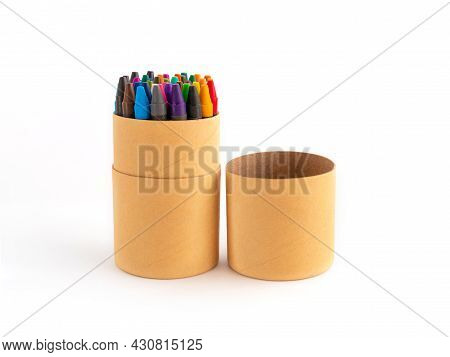 Colored Waxy Pencils In Eco Cardboard Box Isolated On White Background Colorful Non-toxic Pastel Sti