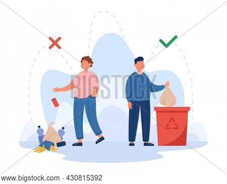 Contrast Of Right And Wrong Way Of Throwing Out Rubbish. Flat Vector Illustration. Girl Dropping Lit