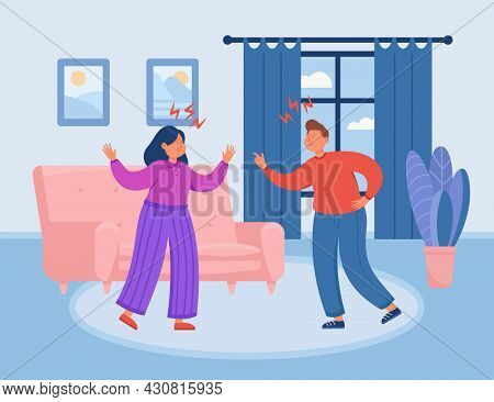 Young Man And Woman Arguing At Home. Flat Vector Illustration. Cartoon Couple Having Family Problems