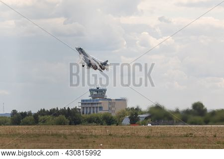 25.07.2021, Russia, Kubinka. Take-off Of The Multifunctional Military Aircraft Su-57, T-50 Felon Rus