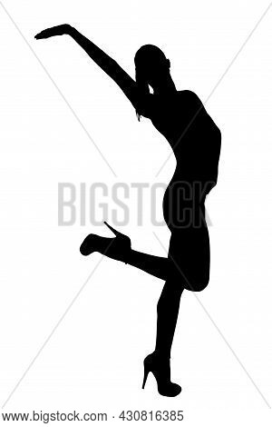 Female Silhouette Of A Dancing Figure With Arm Extended And Knee Bent Isolated On White.