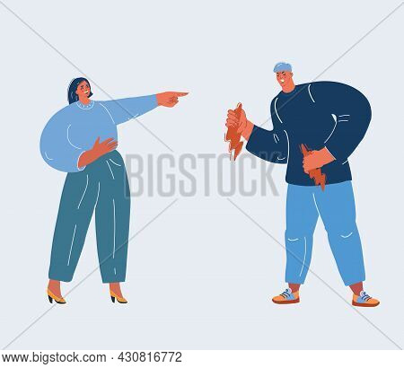 Vector Illustration Of Woman Played A Joke On Angry Man. Offended Man