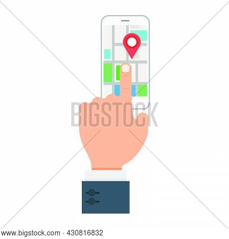 Find Location Icon Vector Illustration Travel Symbol Pin. Hand Direction Navigation Find Location Ro