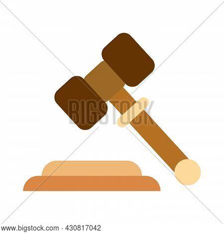 Law Gavel Judge Hammer Vector Illustration Icon. Judgement Symbol Auction Decision Judge Gavel Verdi