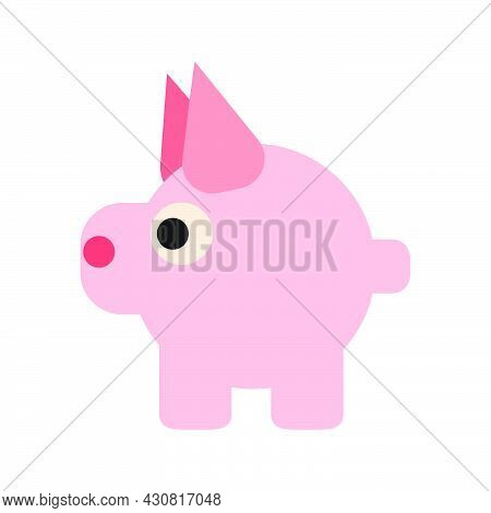 Pig Animal Vector Icon Illustration Mammal Cartoon Isolated White Cute. Pet Pig Icon Agriculture Pig