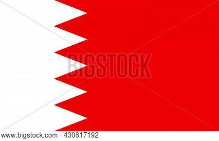 Flag Bahrain Vector Illustration Symbol National Country Icon. Freedom Nation Flag Bahrain Independe