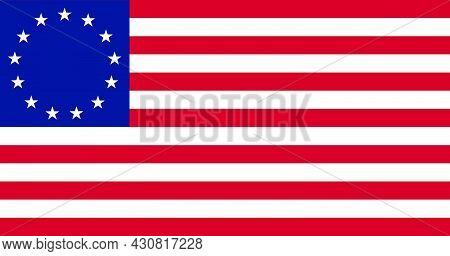 Flag Betsy Ross Vector Illustration Symbol National Country Icon. Freedom Nation Flag Betsy Ross Ind