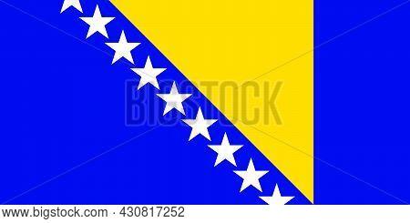 Flag Bosnia And Herzegovina Vector Illustration Symbol National Country Icon. Freedom Nation Flag Bo