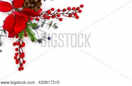 Christmas Decoration. Red Berry And Blue Dry Flowers, Red Poinsettia, Christmas Tree, Pine Cone, Euc