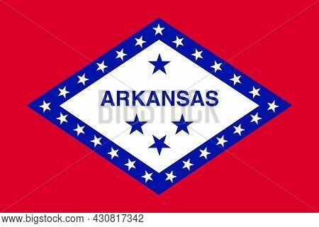 Flag Arkansas Vector Illustration Symbol National Country Icon. Freedom Nation Flag Arkansas Indepen