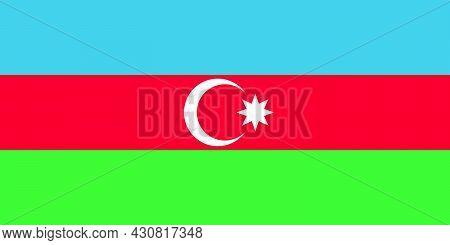 Flag Azerbaijan Vector Illustration Symbol National Country Icon. Freedom Nation Flag Azerbaijan Ind