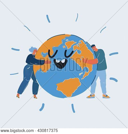 Vector Illustration Of People Take Care About Green Planet. Man And Woman Hold, Protect, Hugging The