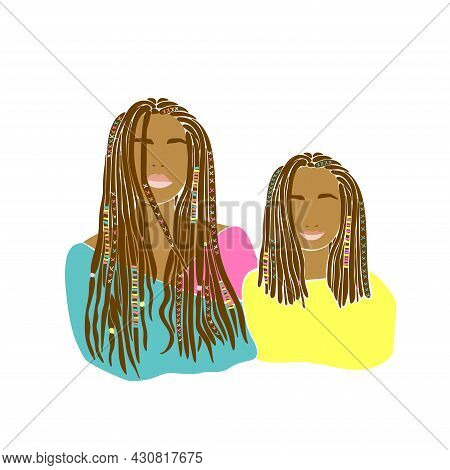 Mother Daughter Braids Drawn In Hand Drawn Style. Happy Family Illustration Design. Vector Drawing.
