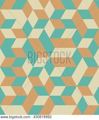 Abstract Background Seamless Geometric Pattern. Cube Shape, Diamond Shape. Yellow Orange Green Color