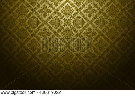 Thai Art Pattern Background Retro Antique Style. Luxurious Golden Square Shape. Arranged In Alternat