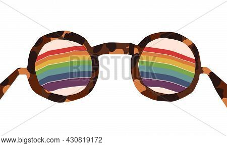 Optimist, Positive Thinking, Changing Reality. A Rainbow Is Visible Through Lenses Of Fake Turtle Sh