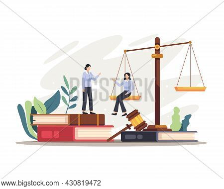 Lawyer Judge Characters Illustration
