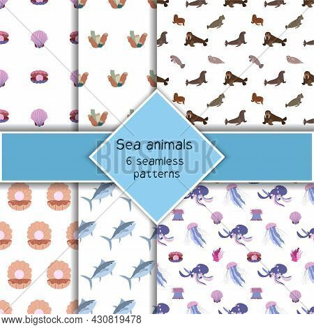 Set With Six Sea Animal Seamless Pattern With Tuna, Octopus And Jellyfish, Seashell. Undersea World
