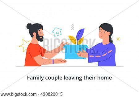 Cute Couple Is Leaving Their Home For New Place On White Background. Concept Of People Packing Up Be