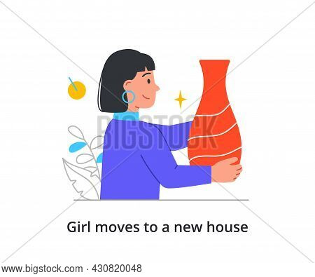 Young Cheerful Girl Is Packing Up Her Furniture To Move To A New Place On White Background. Concept