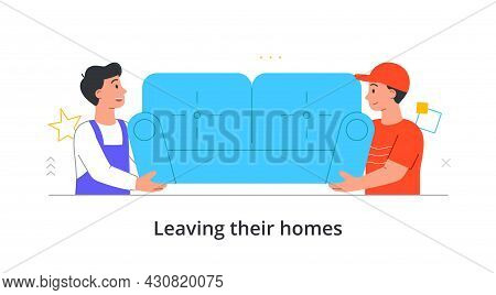 Two Male Transportation Sevice Character Are Moving Couch To A New Place On White Background. Concep