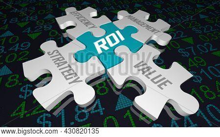 ROI Return on Investment Stock Market Value Portfolio 3d Illustration