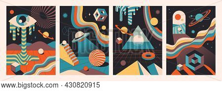 Set Of Colorful Abstract Psychedelic Space Compositions. Vintage Colors Of Geometric Shapes As A Tem